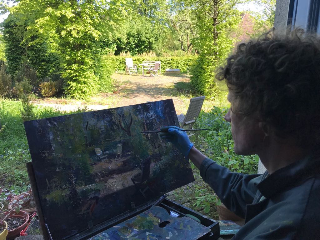 Simeon at work painting (2018)